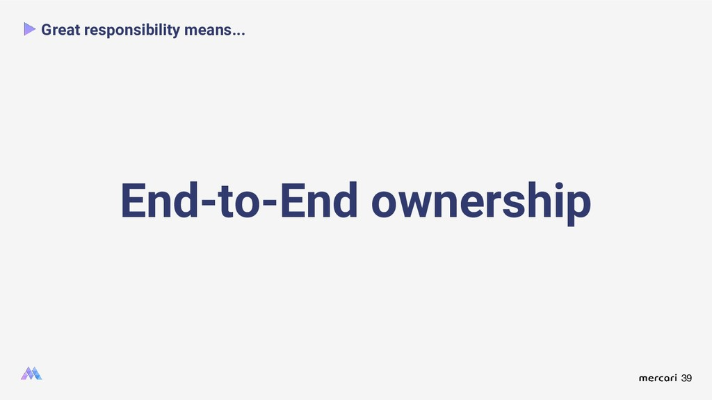 39 Great responsibility means... End-to-End own...