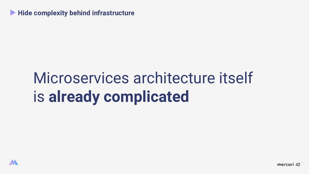 42 Hide complexity behind infrastructure Micros...