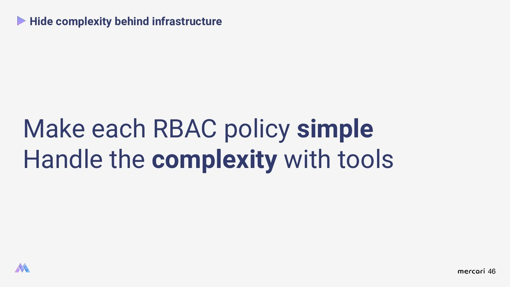 46 Hide complexity behind infrastructure Make e...