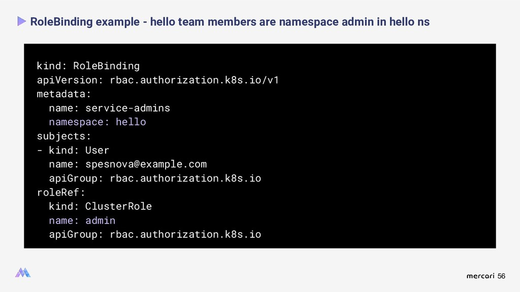 56 RoleBinding example - hello team members are...
