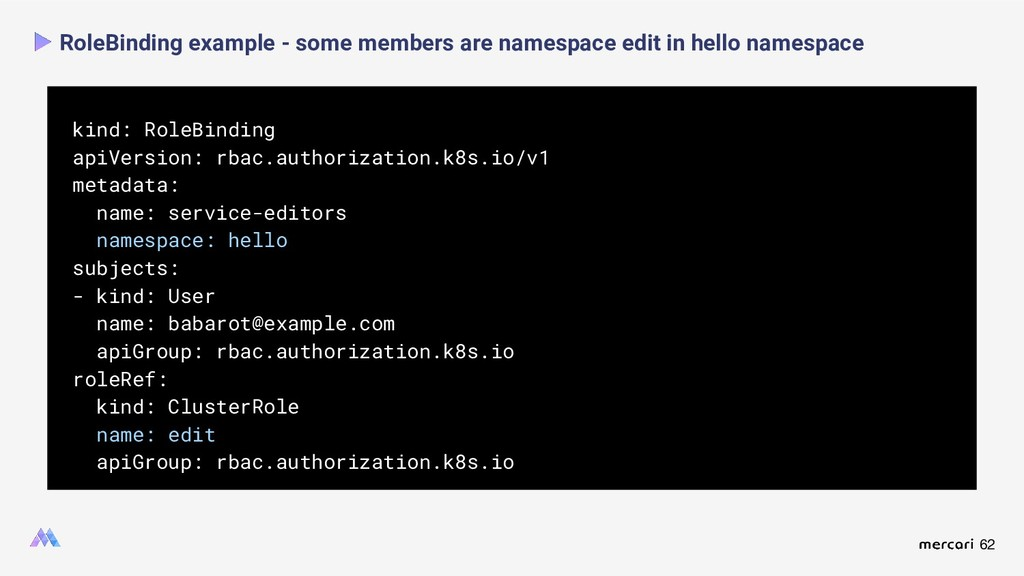 62 RoleBinding example - some members are names...