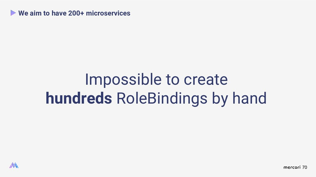 70 We aim to have 200+ microservices Impossible...