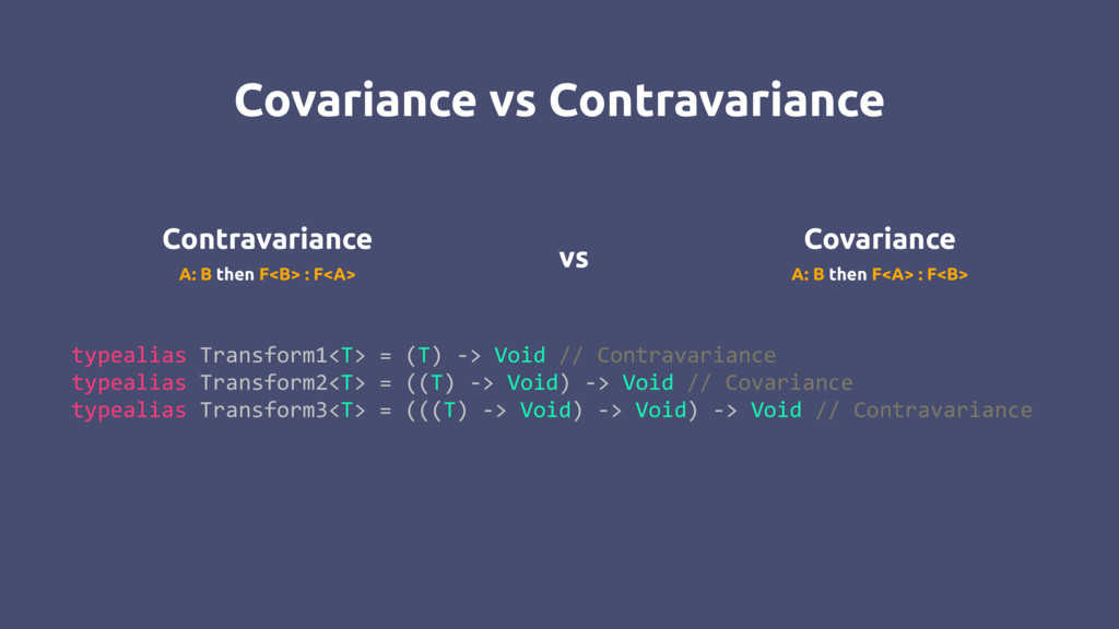 Contravariance Covariance A: B then F<B> : F<A>...