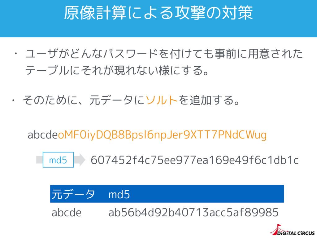 原像計算による攻撃の対策 • ユーザがどんなパスワードを付けても事前に用意された テーブルにそ...