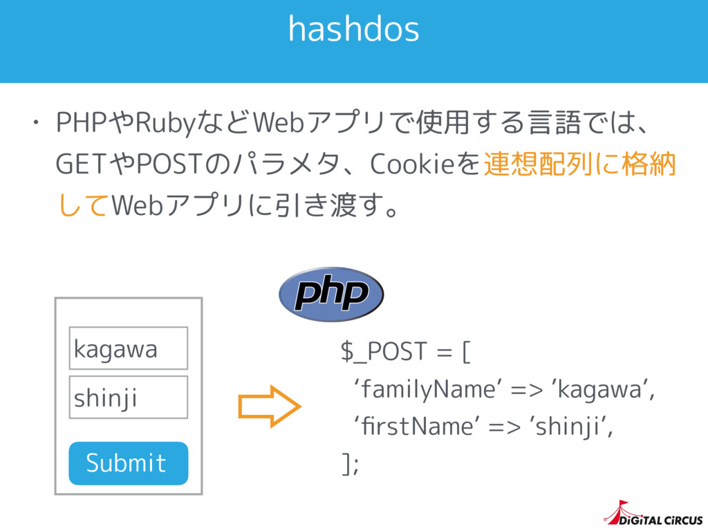 hashdos • PHPやRubyなどWebアプリで使用する言語では、 GETやPOSTのパ...
