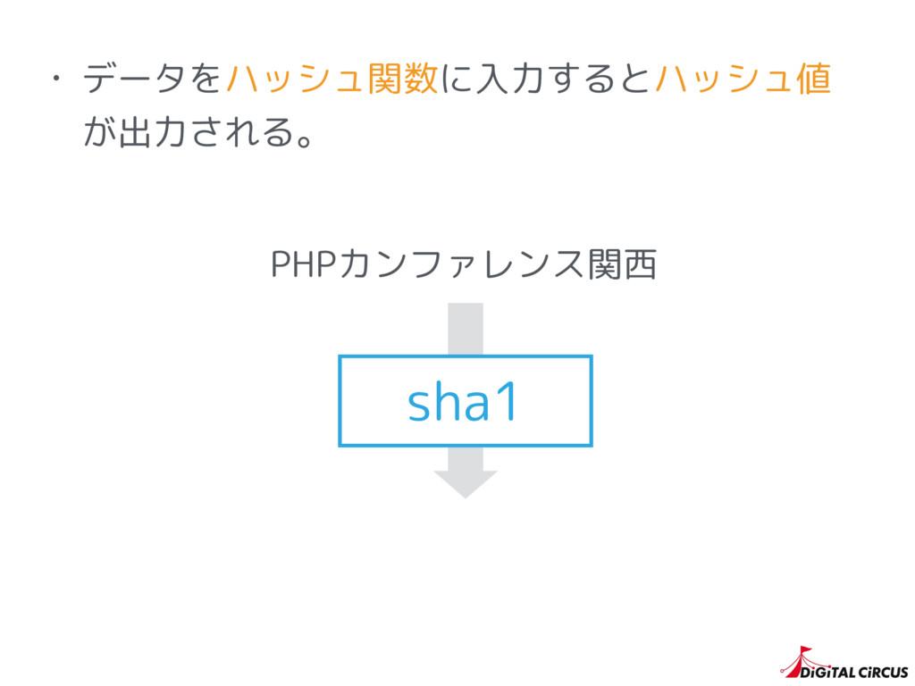 • データをハッシュ関数に入力するとハッシュ値 が出力される。 PHPカンファレンス関西 sh...