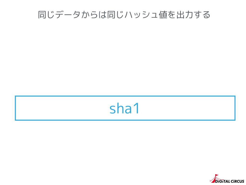 同じデータからは同じハッシュ値を出力する sha1