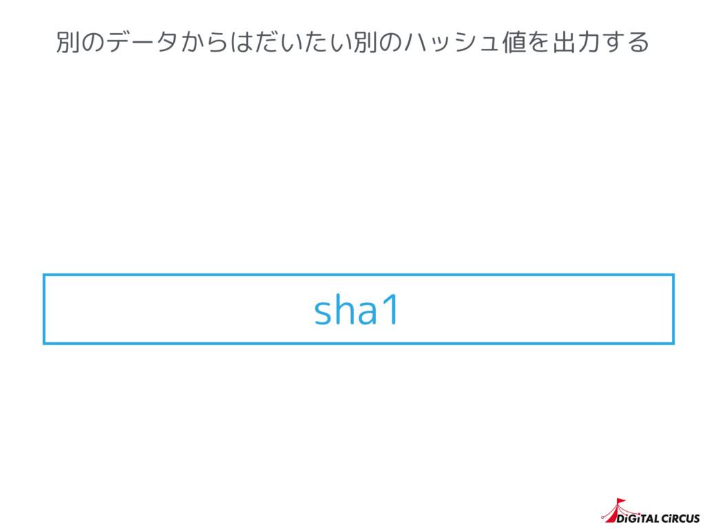 別のデータからはだいたい別のハッシュ値を出力する sha1