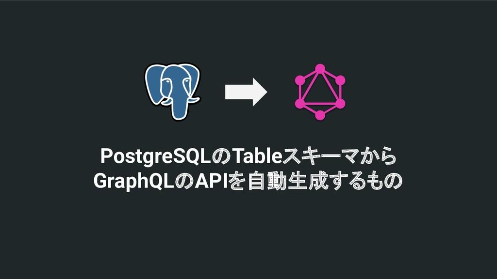 PostgreSQLのTableスキーマから GraphQLのAPIを自動生成するもの