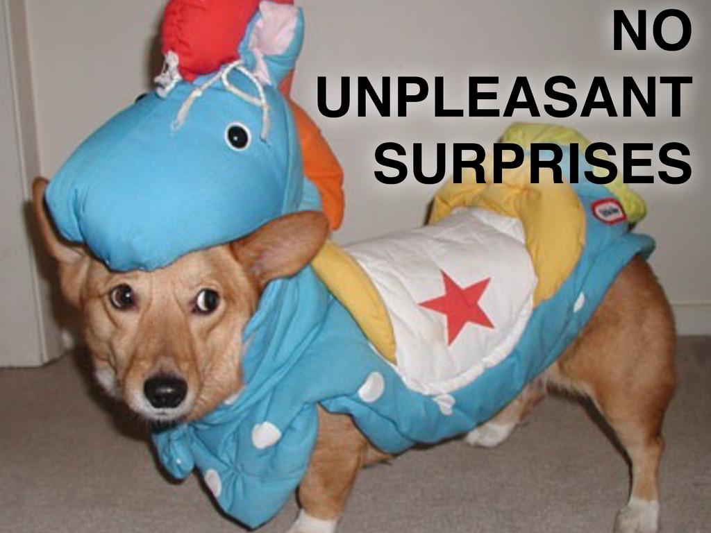 NO UNPLEASANT SURPRISES