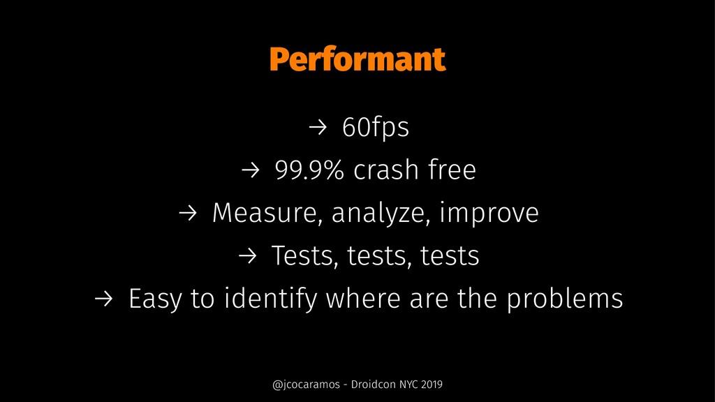 Performant → 60fps → 99.9% crash free → Measure...
