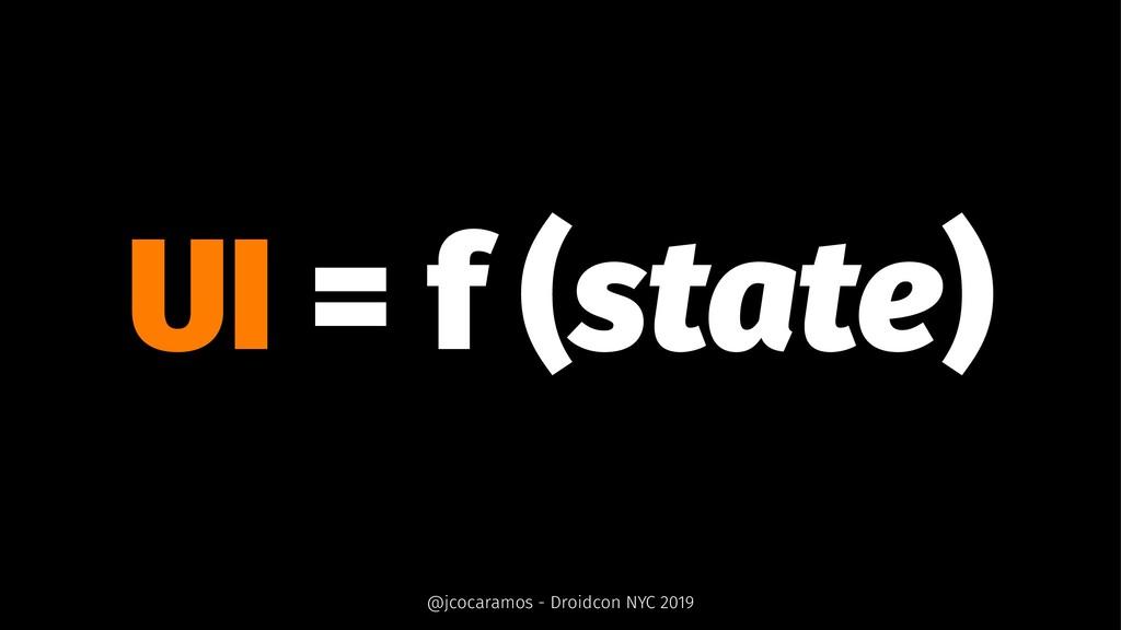 UI = f (state) @jcocaramos - Droidcon NYC 2019