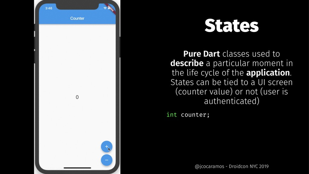 States Pure Dart classes used to describe a par...