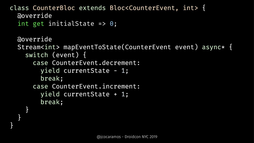 class CounterBloc extends Bloc<CounterEvent, in...