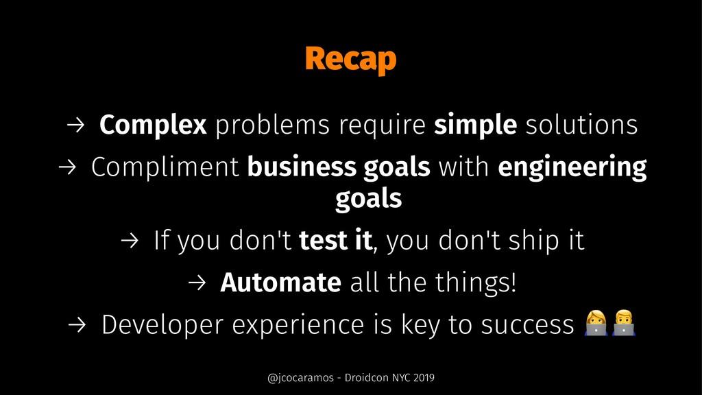 Recap → Complex problems require simple solutio...