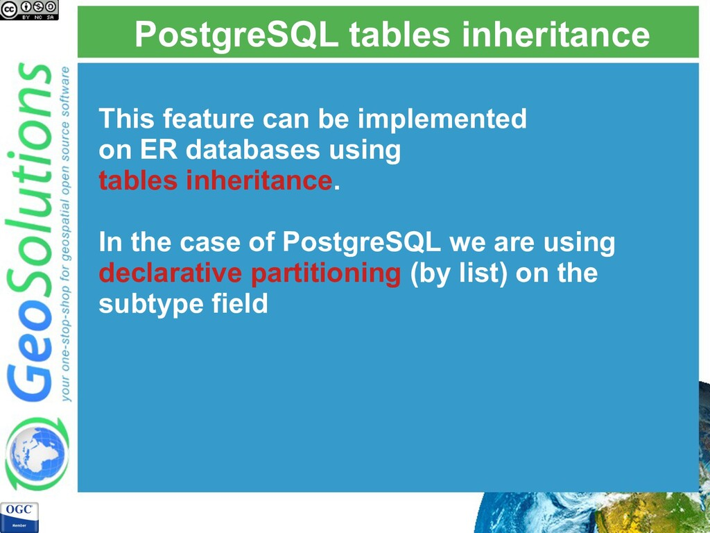 PostgreSQL tables inheritance This feature can ...