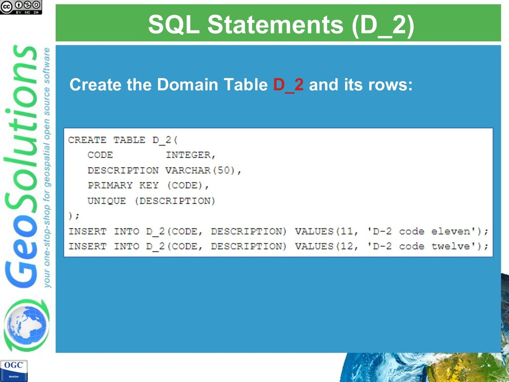 SQL Statements (D_2) Create the Domain Table D_...