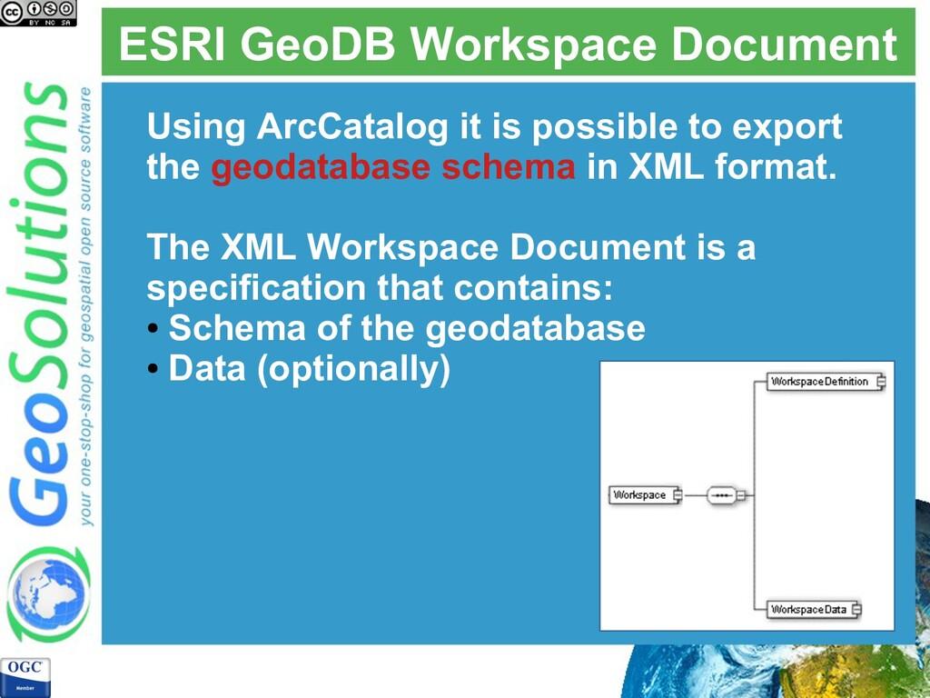 ESRI GeoDB Workspace Document Using ArcCatalog ...