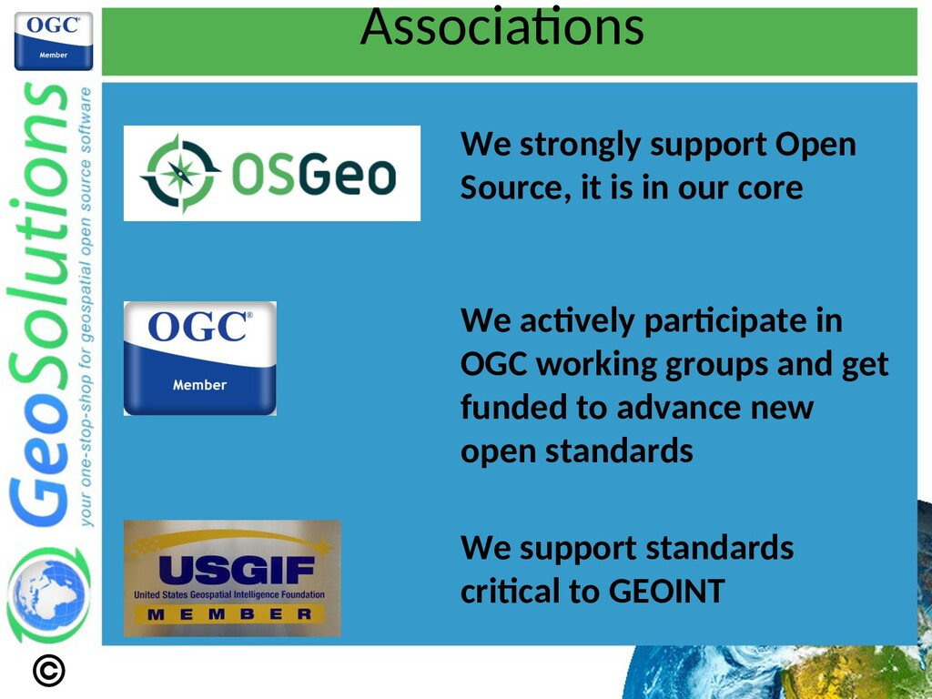 Associatons We strongly support Open Source, it...