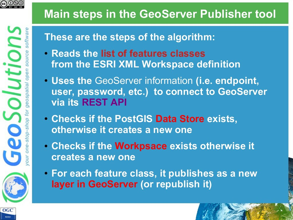 Main steps in the GeoServer Publisher tool Thes...
