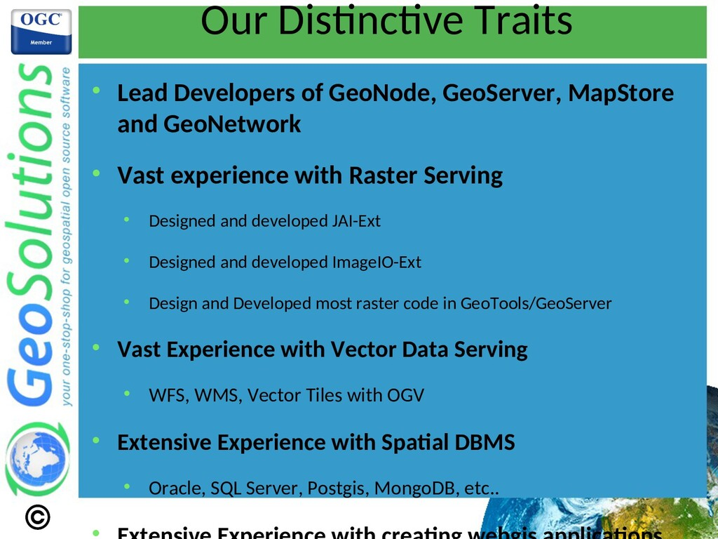 Our Distnctve Traits  Lead Developers of GeoNo...
