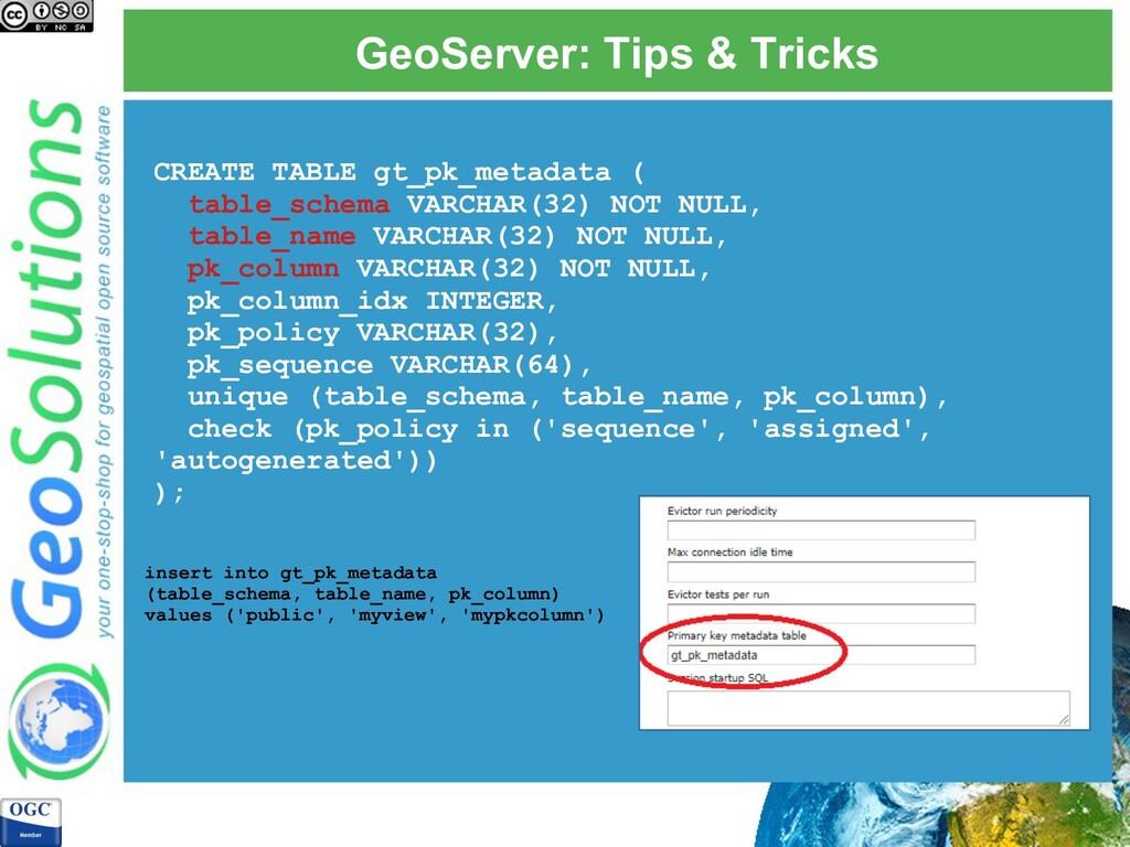 GeoServer: Tips & Tricks CREATE TABLE gt_pk_met...