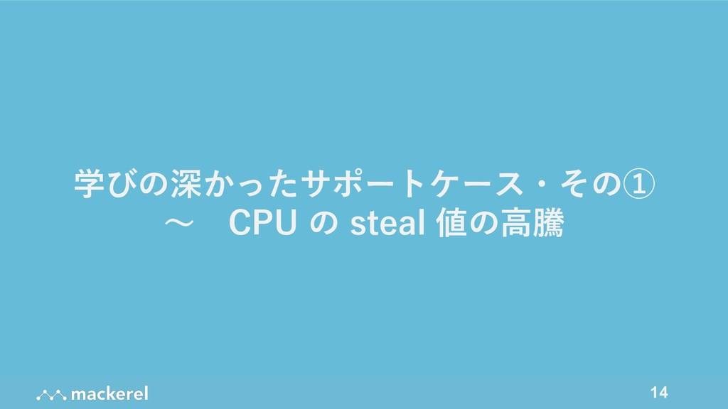 14 学びの深かったサポートケース・その① 〜 CPU の steal 値の⾼騰