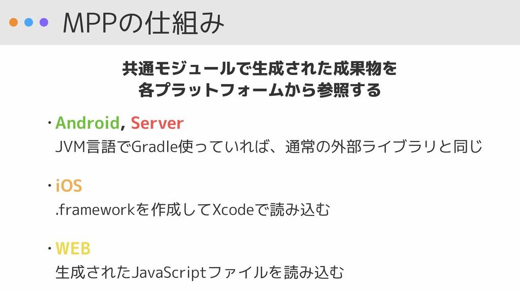 MPPの仕組み • Android, Server JVM言語でGradle使っていれば、通...