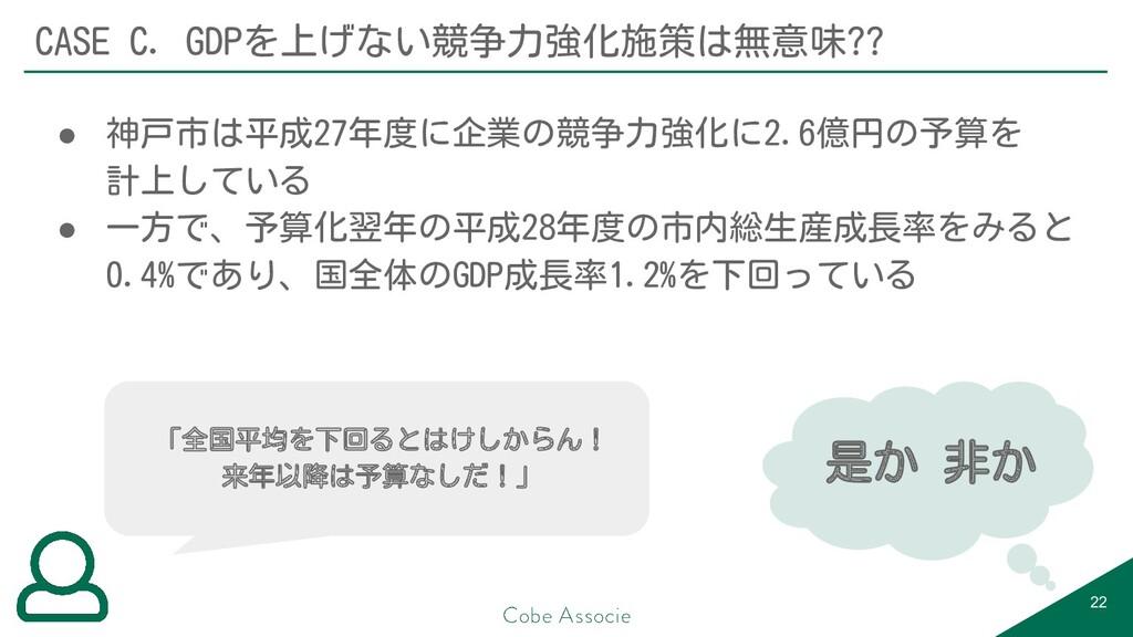 22 CASE C. GDPを上げない競争力強化施策は無意味?? ● 神戸市は平成27年度に企...