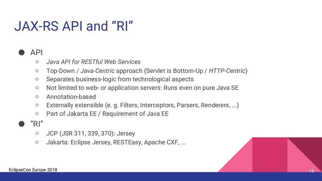 "EclipseCon Europe 2018 JAX-RS API and ""RI"" 15 ●..."