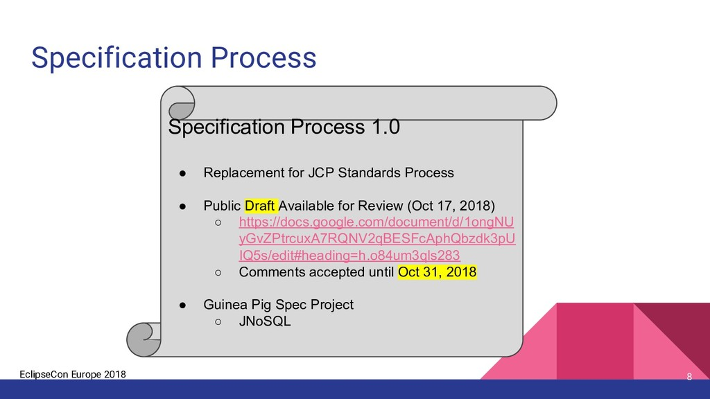 EclipseCon Europe 2018 Specification Process 8 ...