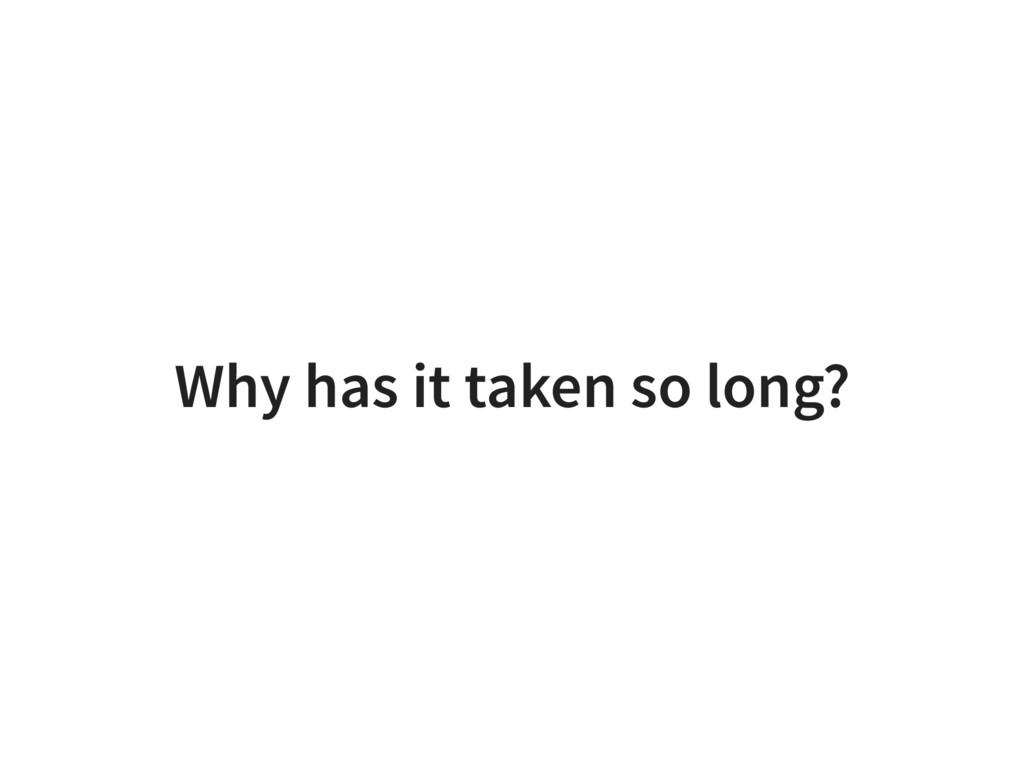 Why has it taken so long?