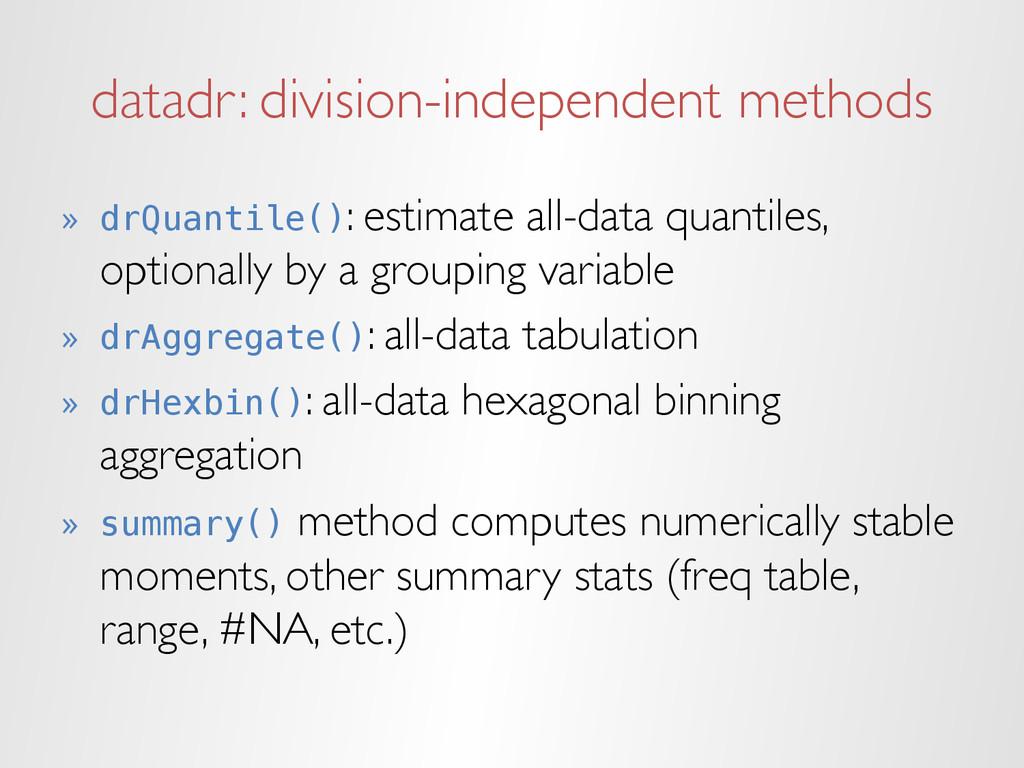 datadr: division-independent methods » drQuant...