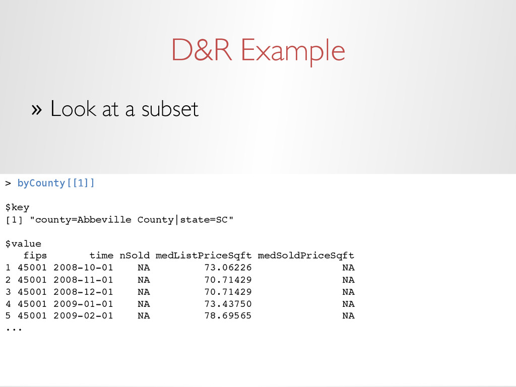 D&R Example » Look at a subset > byCounty[[1]]...