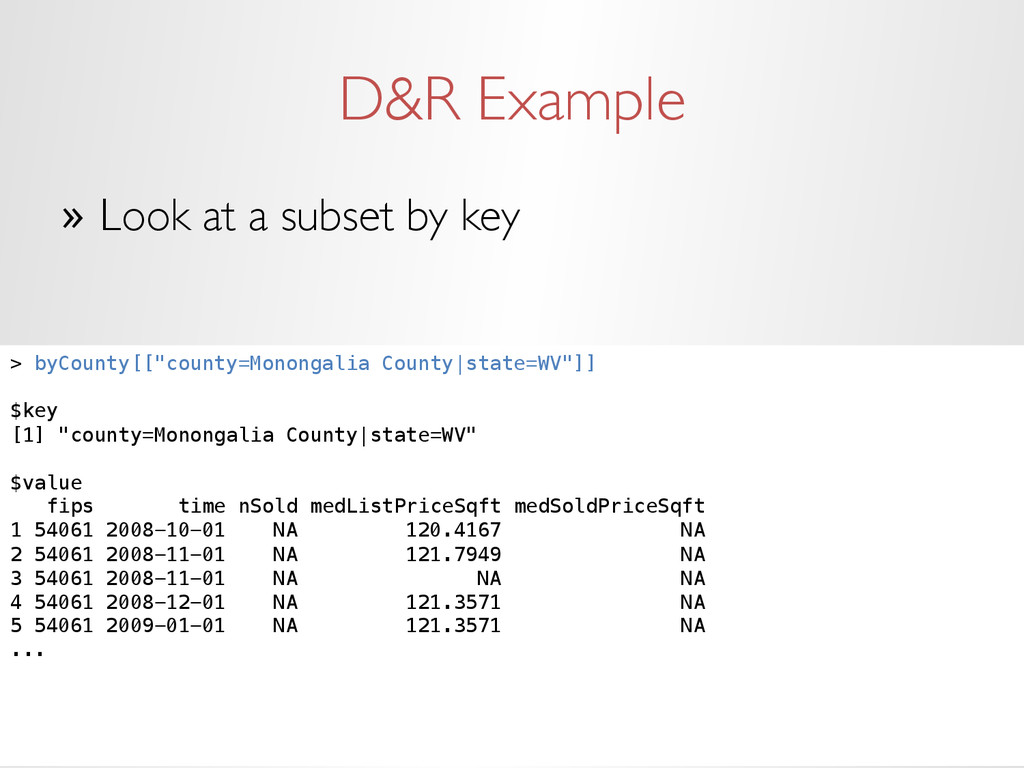 D&R Example » Look at a subset by key > byCoun...