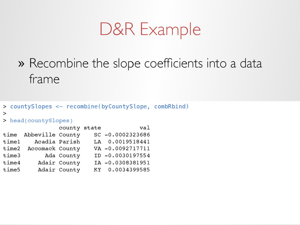 D&R Example » Recombine the slope coefficients ...