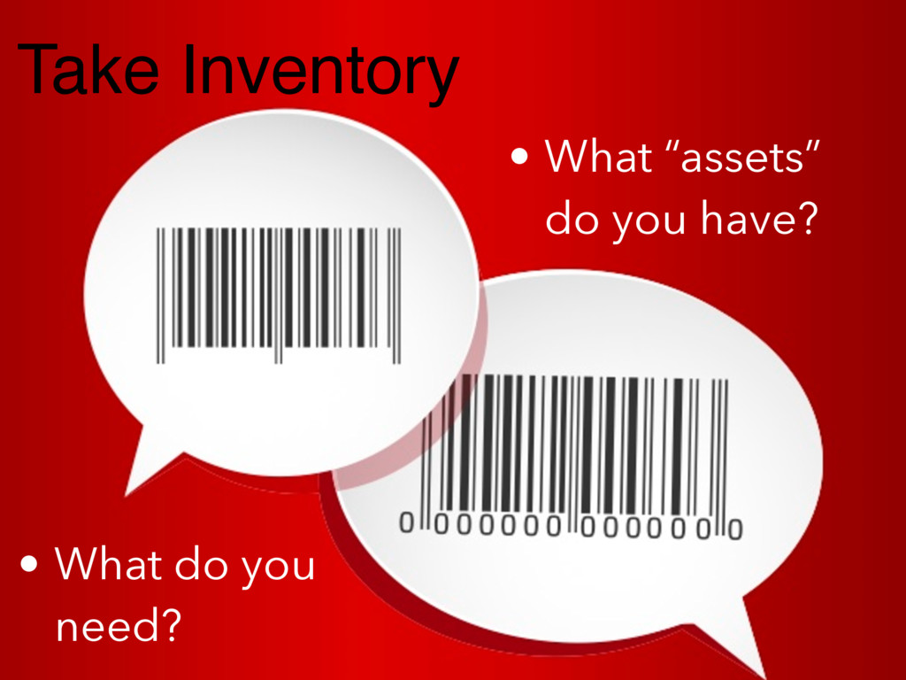 """Take Inventory • What """"assets"""" do you have? • W..."""