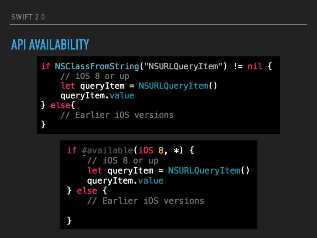 SWIFT 2.0 API AVAILABILITY