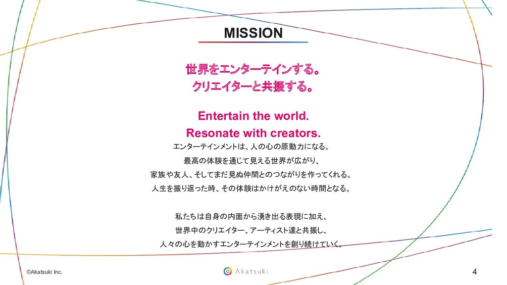 ©Akatsuki Inc. 世界をエンターテインする。 クリエイターと共振する。 Enter...