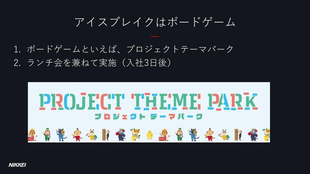 1. ボードゲームといえば、プロジェクトテーマパーク 2. ランチ会を兼ねて実施(入社3日後)...