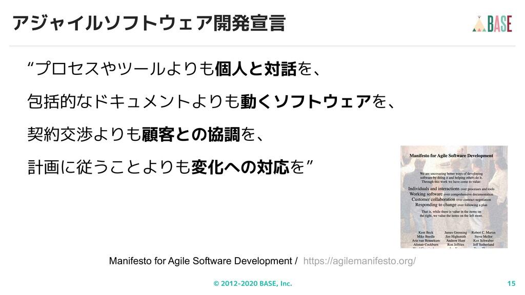 "© 2012-2020 BASE, Inc. 15 アジャイルソフトウェア開発宣言 ""プロセス..."