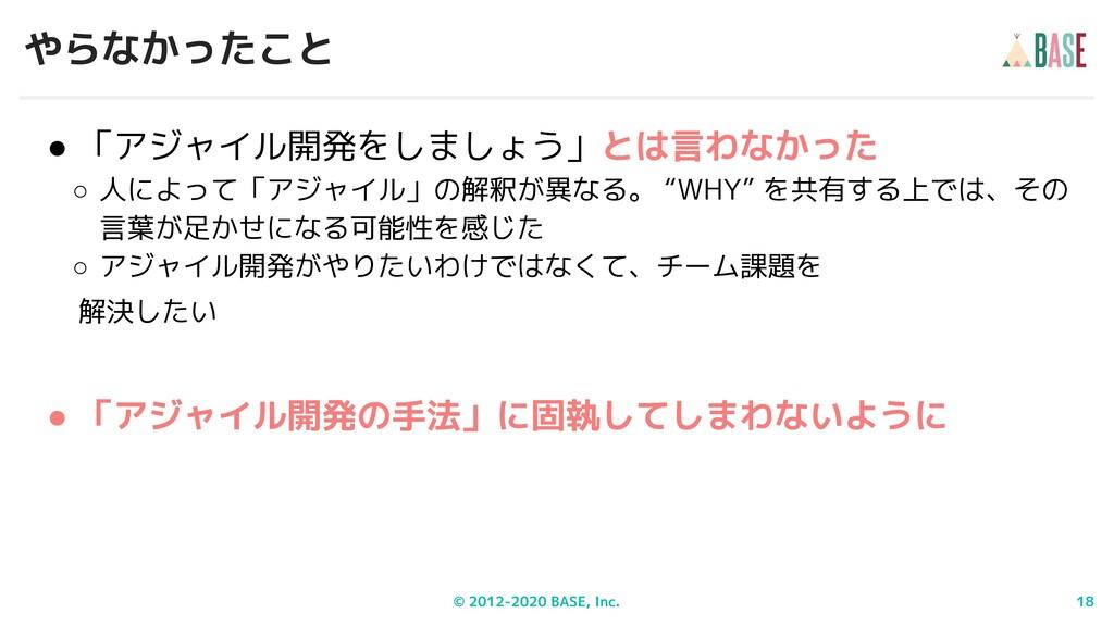© 2012-2020 BASE, Inc. 18 やらなかったこと ● 「アジャイル開発をし...
