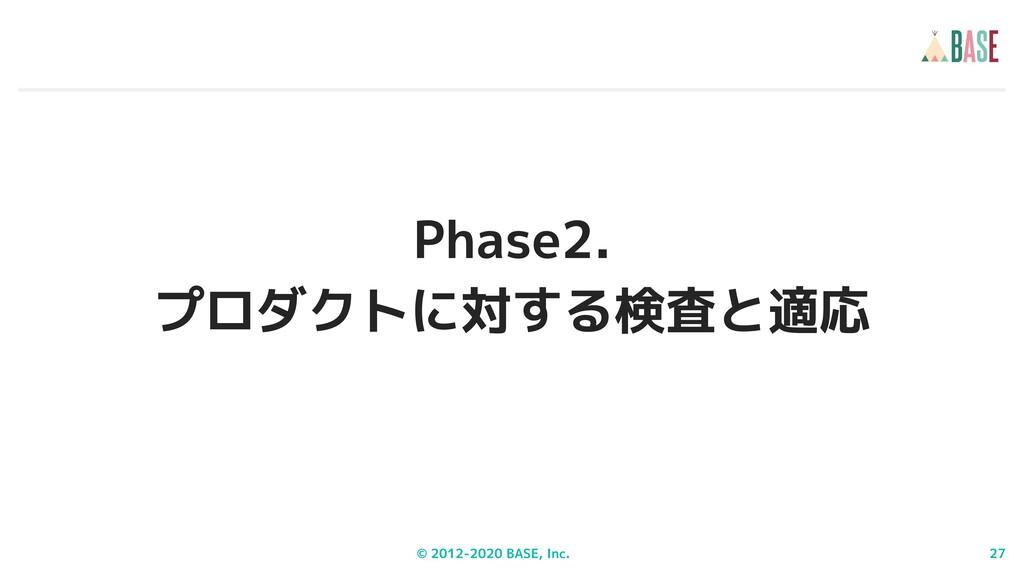 © 2012-2020 BASE, Inc. 27 Phase2. プロダクトに対する検査と適応