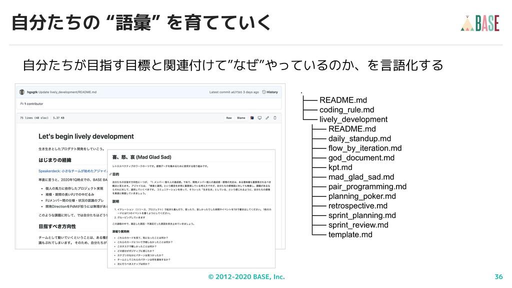 """© 2012-2020 BASE, Inc. 36 自分たちの """"語彙"""" を育てていく . ├..."""