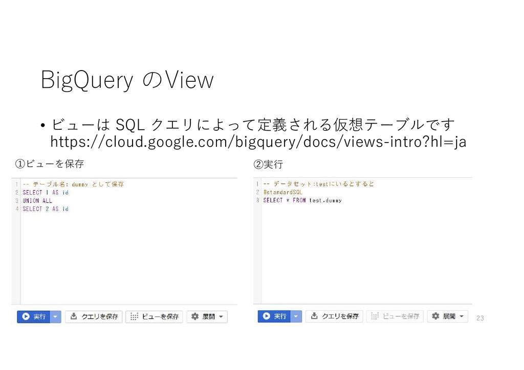 BigQuery のView • ビューは SQL クエリによって定義される仮想テーブルです ...