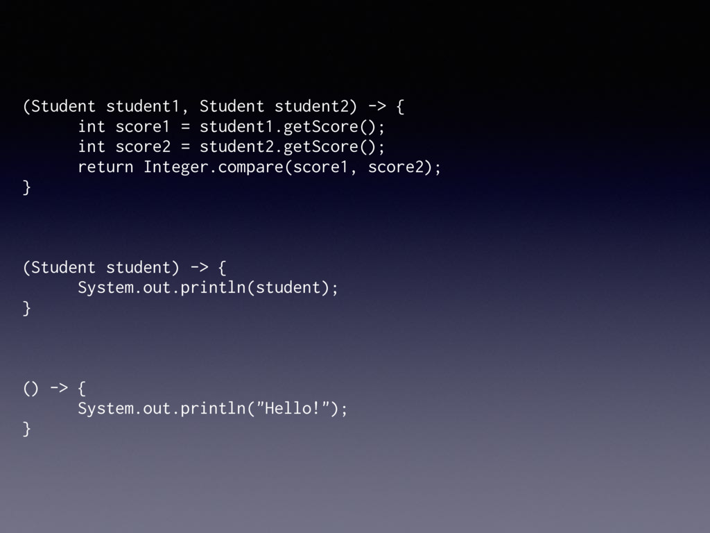 (Student student1, Student student2) -> { int s...