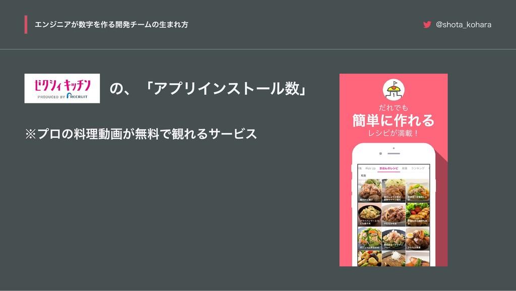 の、「アプリインストール数」 ※ プロの料理動画が無料で観れるサービス エンジニアが数字を作る...