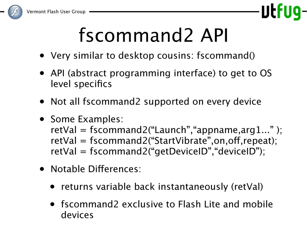 Vermont Flash User Group fscommand2 API • Very ...
