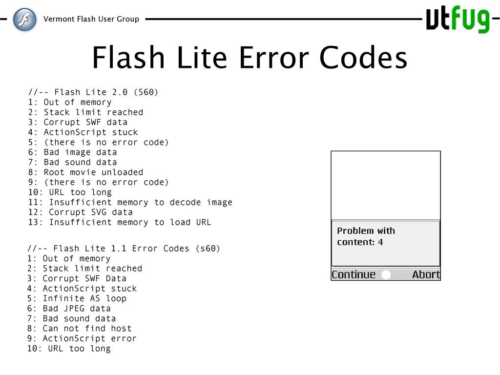 Vermont Flash User Group Flash Lite Error Codes...