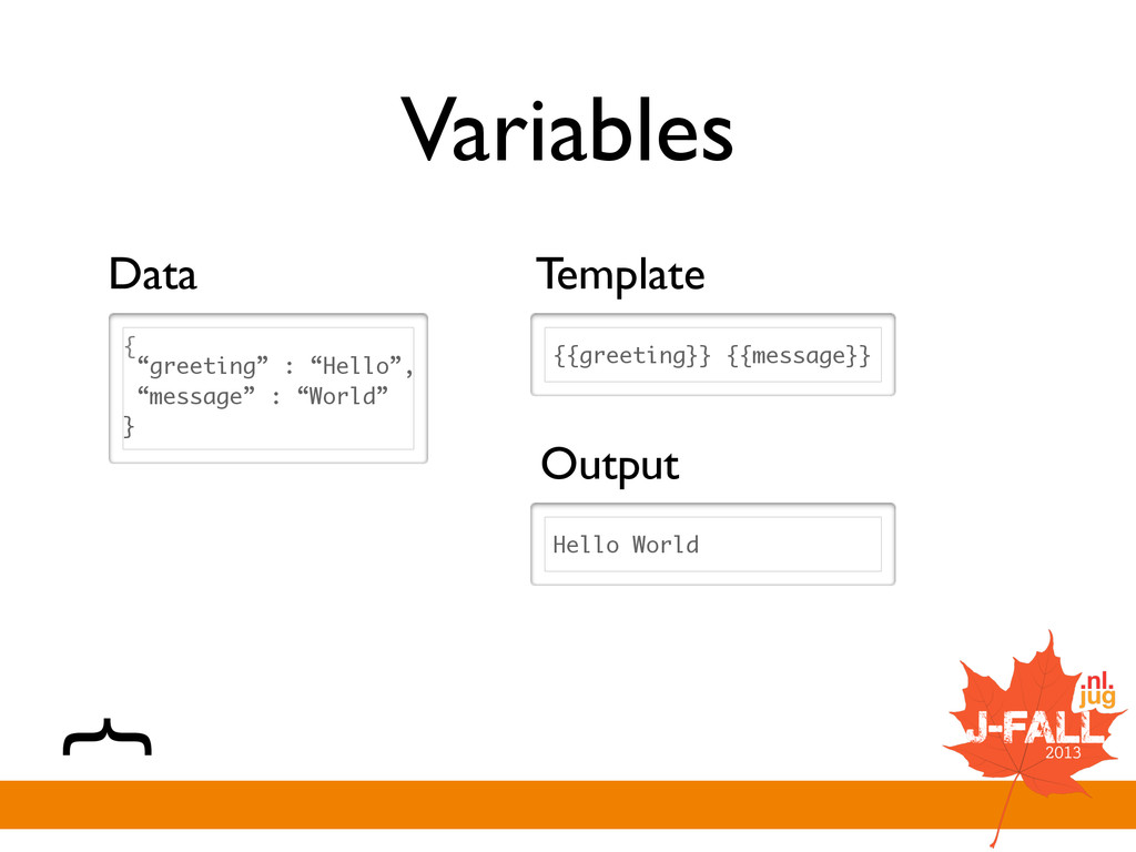 """Variables { """"greeting"""" : """"Hello"""", """"message"""" : """"..."""
